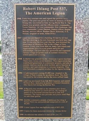 Robert lhlang Post 537, The American Legion Marker image. Click for full size.