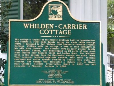 Whilden-Carrier Cottage Marker image. Click for full size.