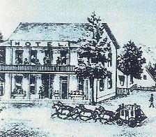 1890s drawing of Tallman Hotel, Saloon and Livery Stable Complex image. Click for full size.