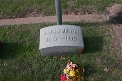 Andrew Jackson Hamilton's grave stone image. Click for full size.
