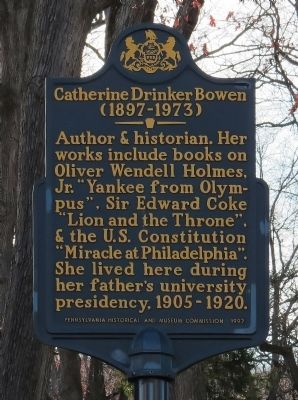 Catherine Drinker Bowen Marker image. Click for full size.