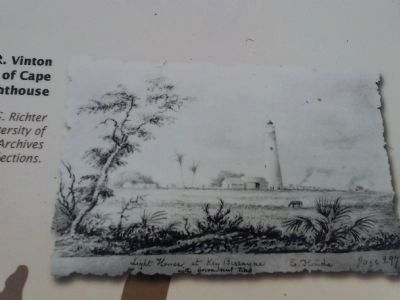 Vinton drawing of Lighthouse on marker image. Click for full size.