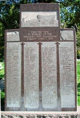 The Soldiers Free Homestead Colony Monument image. Click for full size.