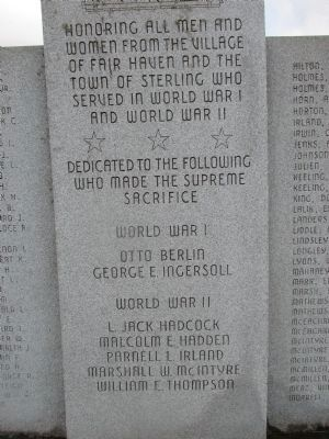 Village of New Haven, Town of Sterling WW I, WWII Memorial image. Click for full size.