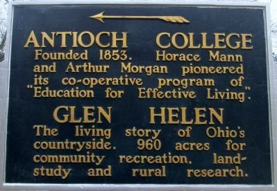 Antioch College and Glen Helen Marker image. Click for full size.