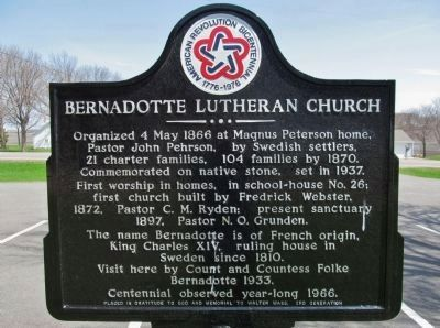 Bernadotte Lutheran Church Marker image. Click for full size.