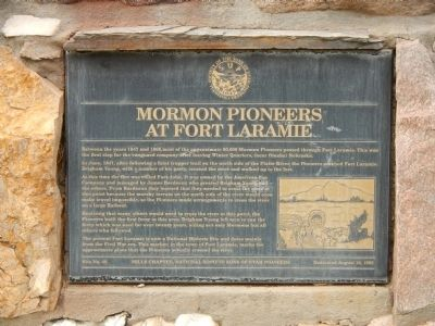 Mormon Pioneers at Fort Laramie Marker image. Click for full size.