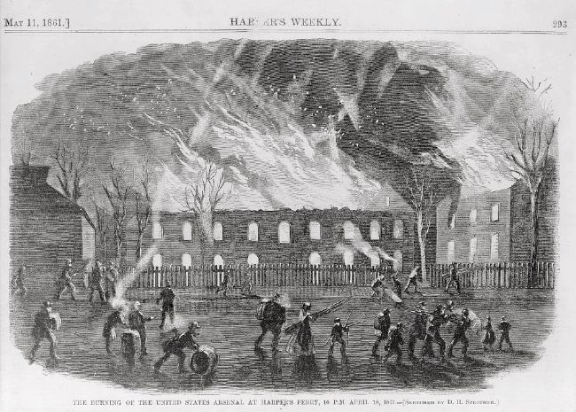 <i> The Burning of the United States Arsenal at Harper&#39;s Ferry, 10 P.M. April 18, 1861 </i> image. Click for full size.