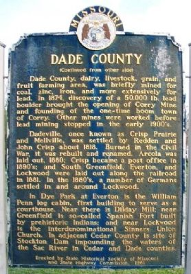 Dade County Marker (Side B) image. Click for full size.
