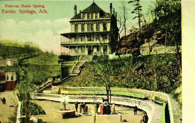<i>Famous Basin Spring. Eureka Springs, Ark.</i> image. Click for full size.