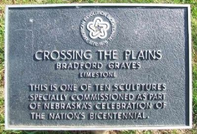 """Crossing the Plains"" Bicentennial Sculpture Marker image. Click for full size."