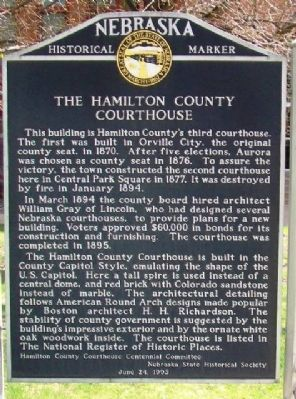 The Hamilton County Courthouse Marker image. Click for full size.