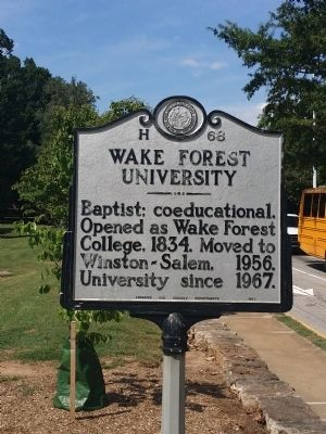 Wake Forest University Marker image. Click for full size.