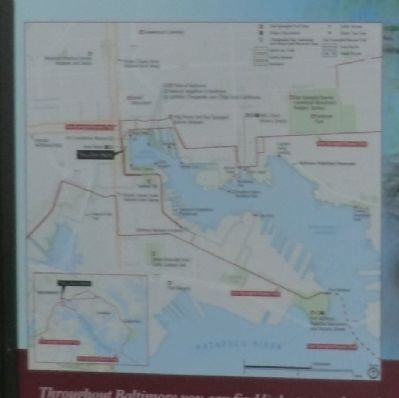 Close up of map on the Baltimore Turns the Tide Marker image. Click for full size.