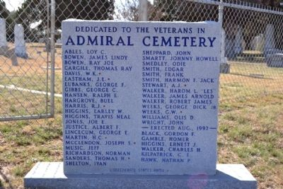 Admiral Cemetery Veterans Memorial Marker image. Click for full size.