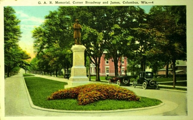 <i>G.A.R. Memorial, Corner Broadway and James, Columbus, Wis.</i> image. Click for full size.