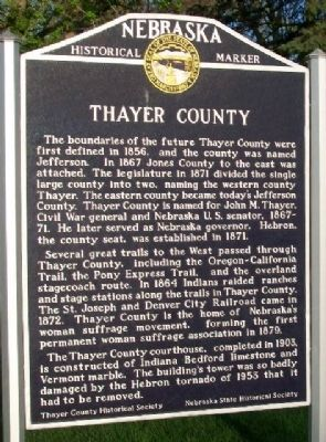 Thayer County Marker image. Click for full size.