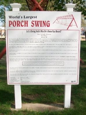 World's Largest Porch Swing Marker image. Click for full size.
