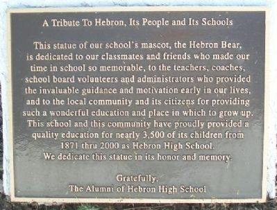 A Tribute To Hebron, Its People and Its Schools Marker image. Click for full size.