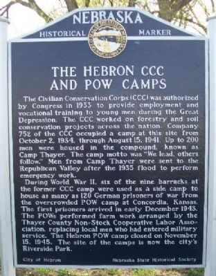 The Hebron CCC And POW Camps Marker image. Click for full size.