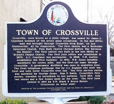 Town of Crossville Marker, front image. Click for full size.