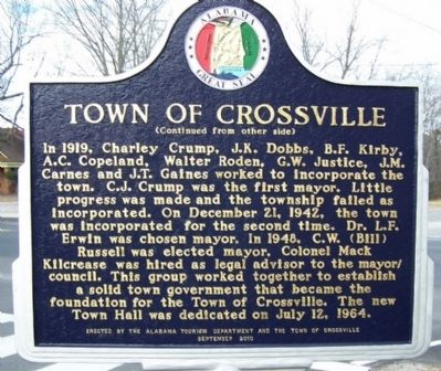 Town of Crossville Marker, rear image. Click for full size.