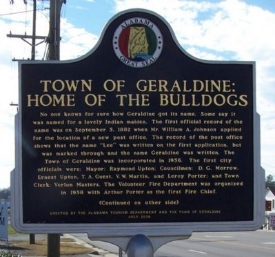 Town of Geraldine: Home of the Bulldogs Marker, front image. Click for full size.