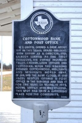 Cottonwood Bank and Post Office Marker image. Click for full size.