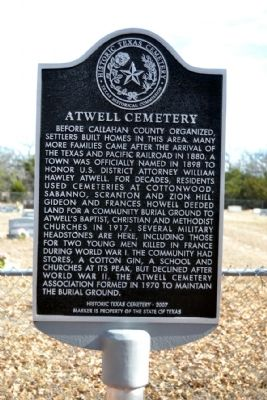 Atwell Cemetery Marker image. Click for full size.