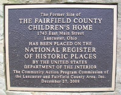 The Fairfield County Children's Home NRHP Marker image. Click for full size.