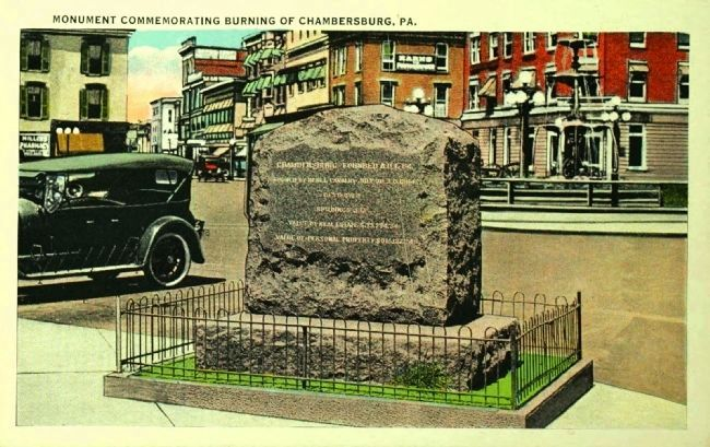 <i> Monument Commemorating Burning of Chambersburg, Pa.</i> image. Click for full size.