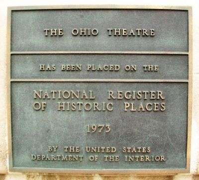 The Ohio Theater NRHP Marker image. Click for full size.