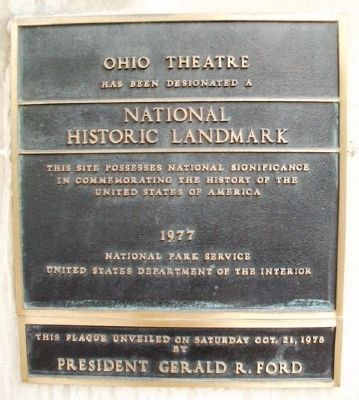 The Ohio Theater NHL Marker image. Click for full size.
