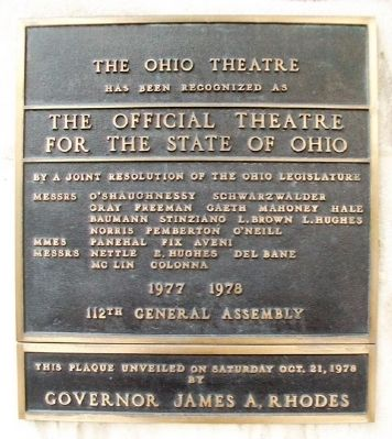 The Ohio Theater Official Theater Marker image. Click for full size.