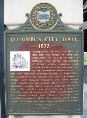 Columbus City Hall Marker image. Click for full size.