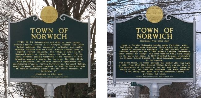Town of Norwich Marker image. Click for full size.