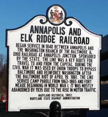 Annapolis and Elk Ridge Railroad Marker image. Click for full size.