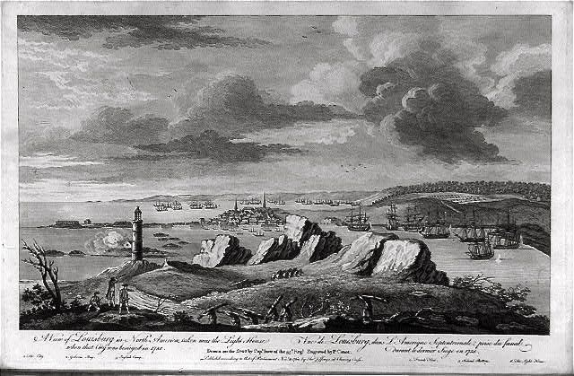 <i>A view of Louisburg in North America, taken near the light house when that city was besieged…</i> image. Click for full size.