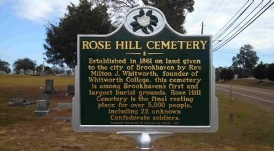 Rose Hill Cemetery Marker image. Click for full size.
