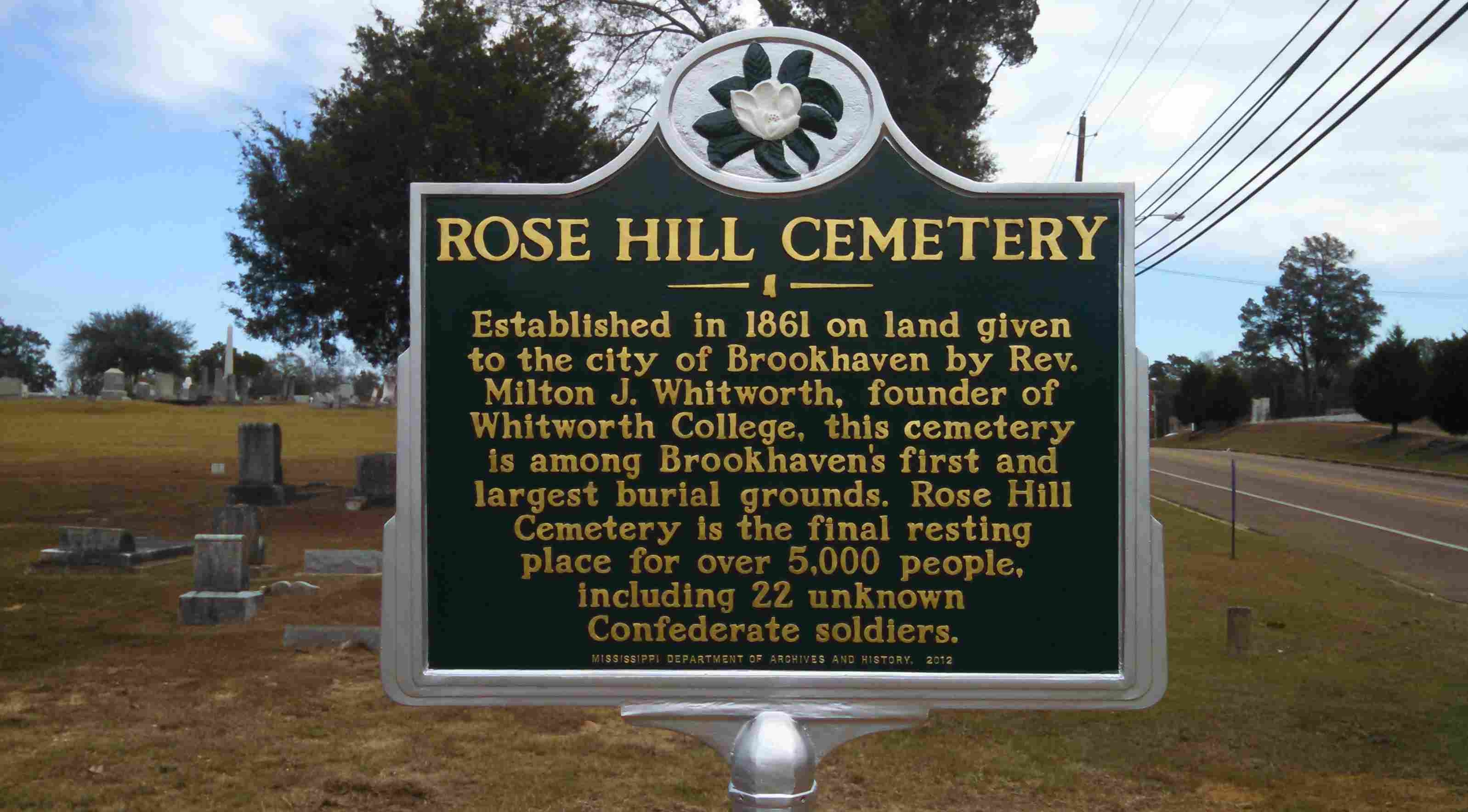 Rose Hill Cemetery Marker