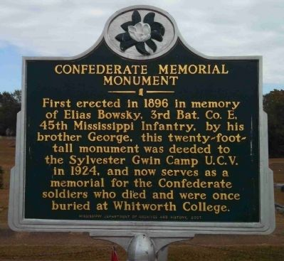 Confederate Memorial Monument Marker image. Click for full size.