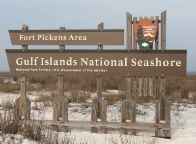 Fort Pickens area entrance sign image. Click for full size.