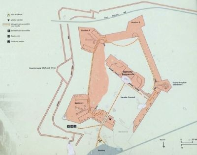 "Map showing the ""Fort within a Fort"" - Battery Pensacola (in middle) image. Click for full size."