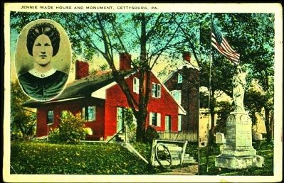 <i>Jennie Wade House and Monument Gettysburg, Pa.</i> image. Click for full size.