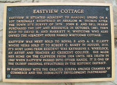 Eastview Cottage Marker image. Click for full size.