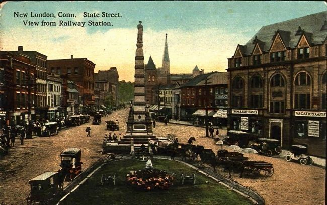 <i>New London, Conn. State Street. View from Railway Station.</i> image. Click for full size.