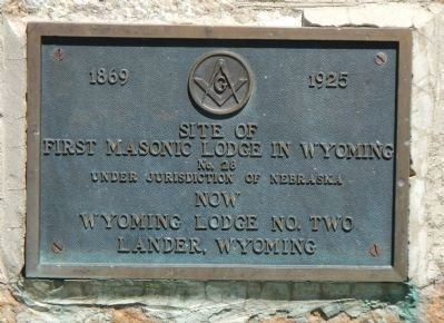 First Masonic Lodge in Wyoming Marker image. Click for full size.