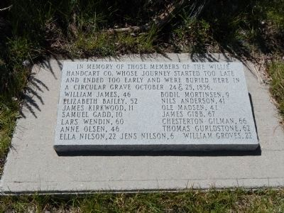 Willie's Handcart Company Memorial Stone image. Click for full size.