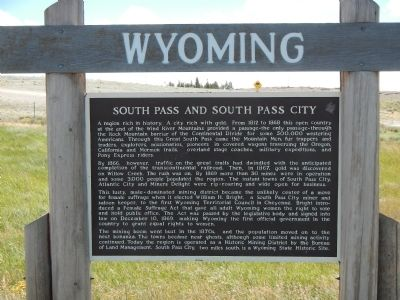 South Pass and South Pass City Marker image. Click for full size.