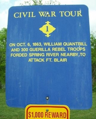 Quantrill's Raiders Ford Spring River Marker image. Click for full size.